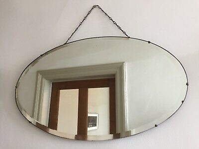 Vintage Frameless Mirror Bevelled Oval Art Deco Original Chain Scandi 55x32cm