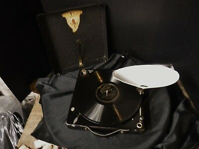 Vintage Polly Portable Phonograph Record Player 1920's Antique works see video