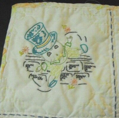 "Vintage Embroidered Baby Quilt   Nursery Rhymes   25"" x 35"""