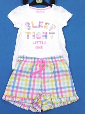 Girls Kids Ex M&S Summer Pyjamas Set Shorts And T-Shirt Nightwear Sleepwear