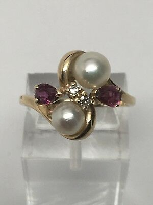 14K Yellow Gold Cultured Pearl Ruby and Diamond Ring Size 6.5