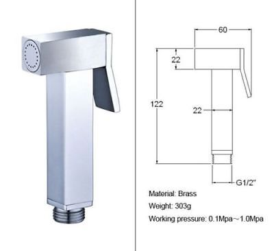 Square Solid Brass Toilet Bidet Faucet Handheld Shower Spray Single Shower Head