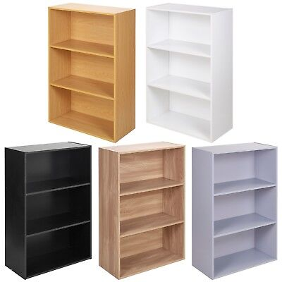 Wide 3 Tier Book Shelf Deep Bookcase Storage Cabinet Display Dining Living Room