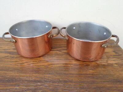 Pair of French copper coated mini casseroles, tin lined pans, 2 brass handles