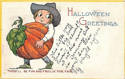 Halloween~Lil Boy In Big Cowboy Hat Carries Exaggerated Pumpkin~Gibson Art Lines