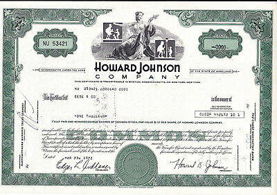Howard Johnson Company-shares v.1972