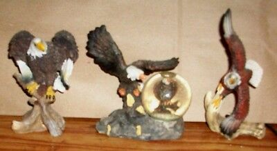 3 Bald Eagles on Tree Branch Figurines Decorations 4 In tall