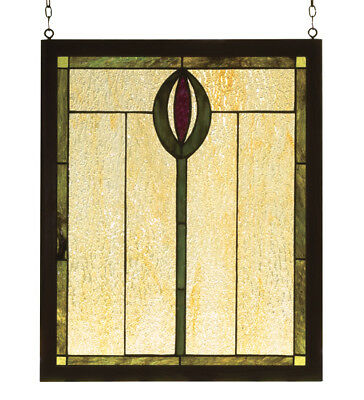 "Meyda 14""W X 17""H Spear Wood Frame Stained Glass Window - 98100"