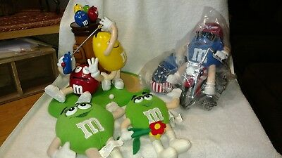 M&M's Lot Of 4- Mulligan-Ville Golf & Motorcycle Dispensers & 2 Plush Green Girl