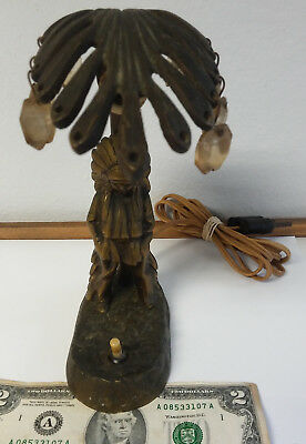Antique Brass Electric Table Desk Lamp Indian Native Under Palm Tree Figurine