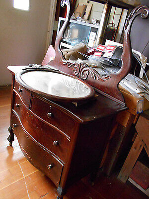 Antique Dresser with Beveled Oval Mirror Good Condtion for 100+ yrs Old Clawfoot
