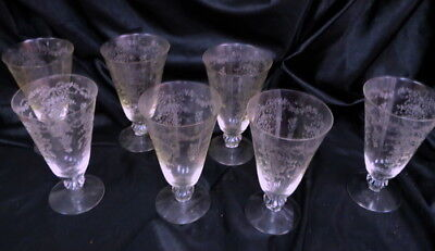 6 vintage Fostoria Romance etched iced tea goblets / and one free / all mint