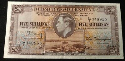 Bermuda 5 Shillings Currency Note 1937 P-8B