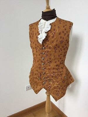 18th Century Replica Man's Regency Brocade and Linen Waistcoat. Pewter Buttons.