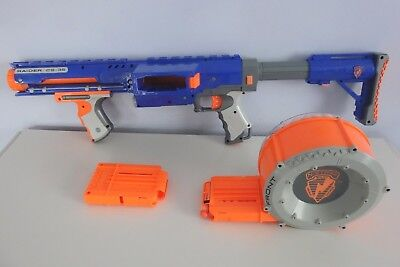 Nerf N-Strike RAIDER CS-35 + Round Barrel Drum Ammo Clip Shoulder Stock Darts
