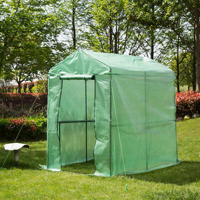 Glitzhome 75''H Larger Outdoor Plant Gardening Walk-in PE Greenhouse 2 Shelves
