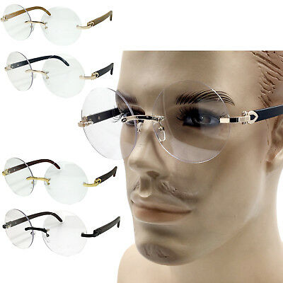 Clear Lens Round Retro Art Nouveau Wood Buffs Style Rimless Circle Eye Glasses