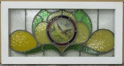 "OLD ENGLISH LEADED STAINED GLASS WINDOW TRANSOM HP Bird & Leaves 29.5"" x 15"""