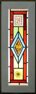 "VICTORIAN OLD ENGLISH LEADED STAINED GLASS WINDOW HP Floral Panel 8.5"" x 22.75"""