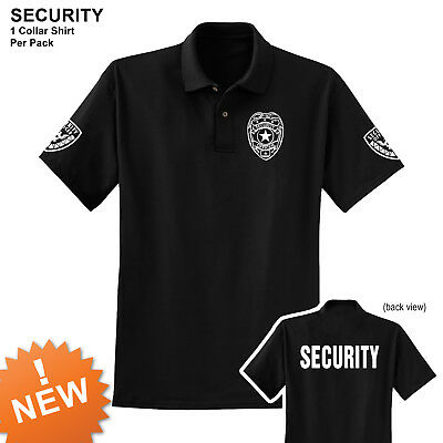 Security polo style collar T-shirt black short sleeves button down collar