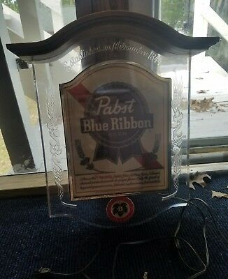 """Lighted Beer Sign """"Pabst Blue Ribbon"""" Large Size - Works Great !"""