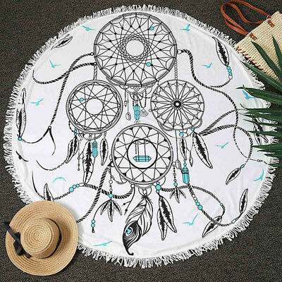 Dream Catcher Round Beach Tapestry Hippie Throw Yoga Mat Towel Indians Gifts~