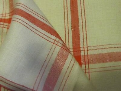 Vintage silk plaid  Gump's estate  red on cream 16yds by the yard