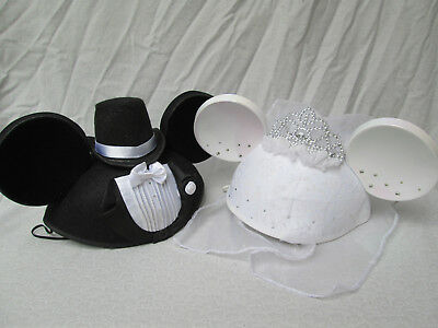 Set of Disney Mickey Mouse & Minnie Mouse Bride & Groom Mouse Ears