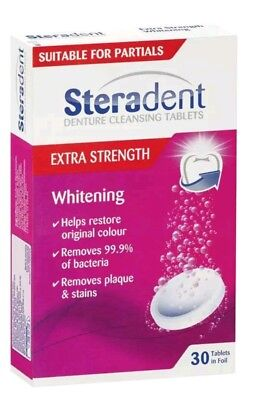 3 X Steradent Extra Strength Whitening Denture Cleansing 30 Tablets