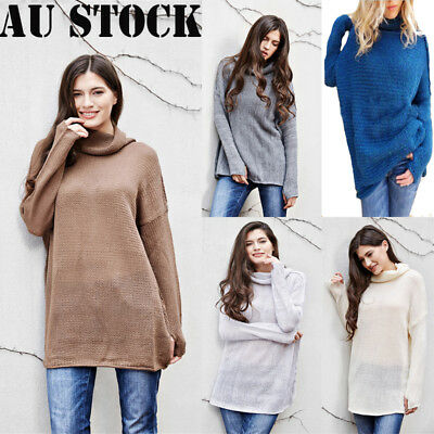 Womens Polo Neck Winter Ladies Tops Chunky Knitted Oversized Sweater Jumper AU