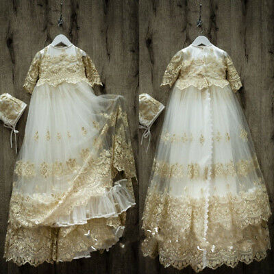 Vintage Champagne Robe Baby Baptism Dresses Christening Gowns Lace Bonnet 0-24 M