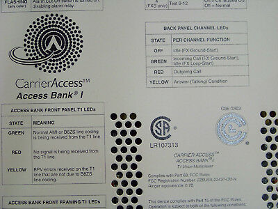"""Carrier Access Corporation C86-0303 """"Bank I"""" T1 Voice Multiplexer + power supply"""