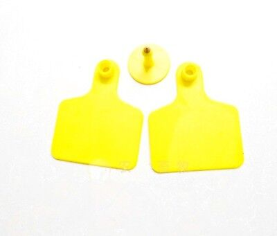 100sets New Yellow 50*40mm Sheep Goat Hog Beef Cow Ear Blank Tag Lable
