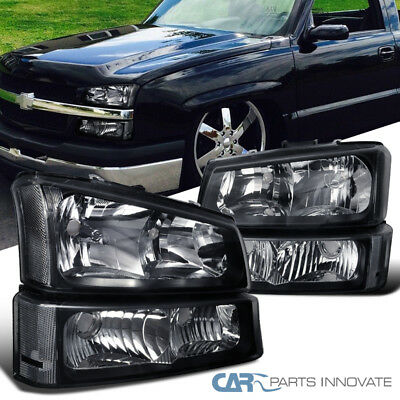 03-07 Silverado Avalanche Pickup Headlights+Bumper Turn Signal Lamps Black Pair