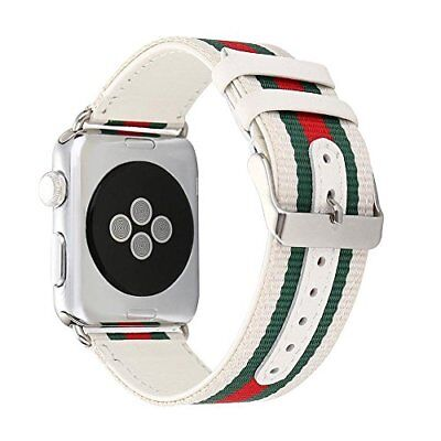 25cbf79efda ... White red green Nylon With Leather Replacement Band For Apple Watch  42Mm 44Mm