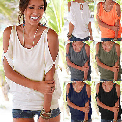 Women's Sexy Halter Cold Shoulder Beaded Slim Fit Short Sleeve Tee Tops Blouse