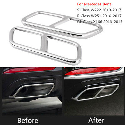 Stainless Steel Exhaust Pipe Muffler Tips Cover Trim For Mercedes X166 W222 W251