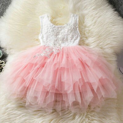 Flower Girl Summer Princess Dress Kid Baby Party Pageant Lace Tulle Tutu Dresses