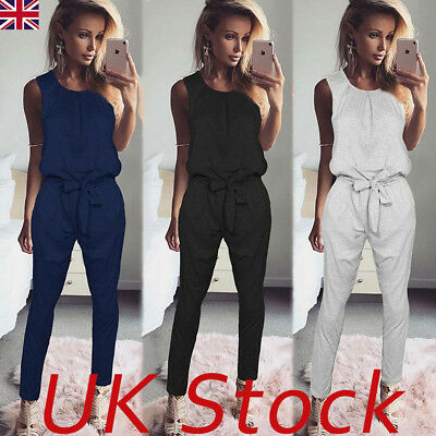 UK Womens Bandage Evening Party Playsuit Ladies Romper Long Jumpsuit Size 6 -16