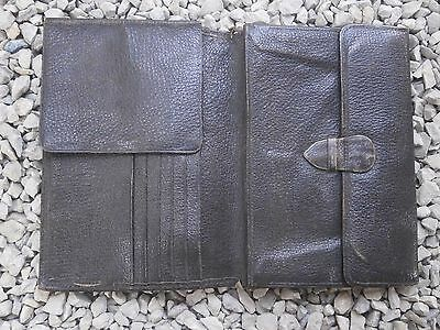 Antique Vintage Leather Wallet Purse Big Size Unique Model