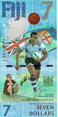 FIJI $7 Dollars 2017 P NEW Commemorative Rugby 7s UNC Banknote