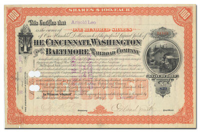 Cincinnati, Washington and Baltimore RR Stock Certificate Signed by Orland Smith
