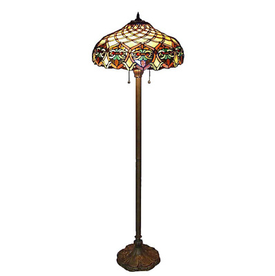 Floor Lamp Tiffany Baroque Bronze Stained Glass Traditional Elegant Brown Alloy