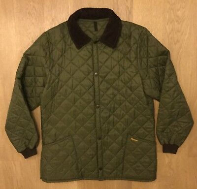 Barbour Mens Medium D364 Liddesdale Quilted Padded Cord Collar Jacket Coat