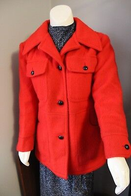 VINTAGE 60s WOMENS HUDSON'S BAY BLANKET PEA COAT JACKET RED VINTAGE SIZE 12
