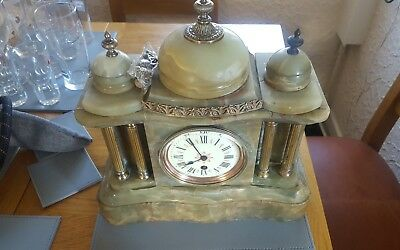 Antique 19th century onyx mantle clock with pendulum