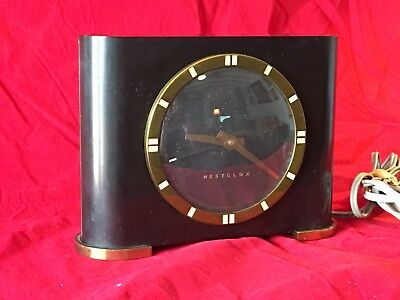 Westclox Vintage Bakelite Mantel or Desk Clock Electric Black Round Face