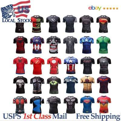 Superhero Superman 3D Marvel Avengers Panther Compression GYM T-shirt Fitness