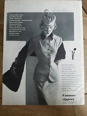 1951 Conmar zippers John Perna women's suit Jean Patchett hat Veil ad