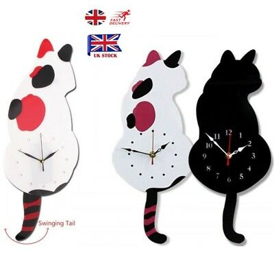 UK Home Decor Animal Shaped Picture Wall Clock Swinging Tail Pendulum Cat Clock